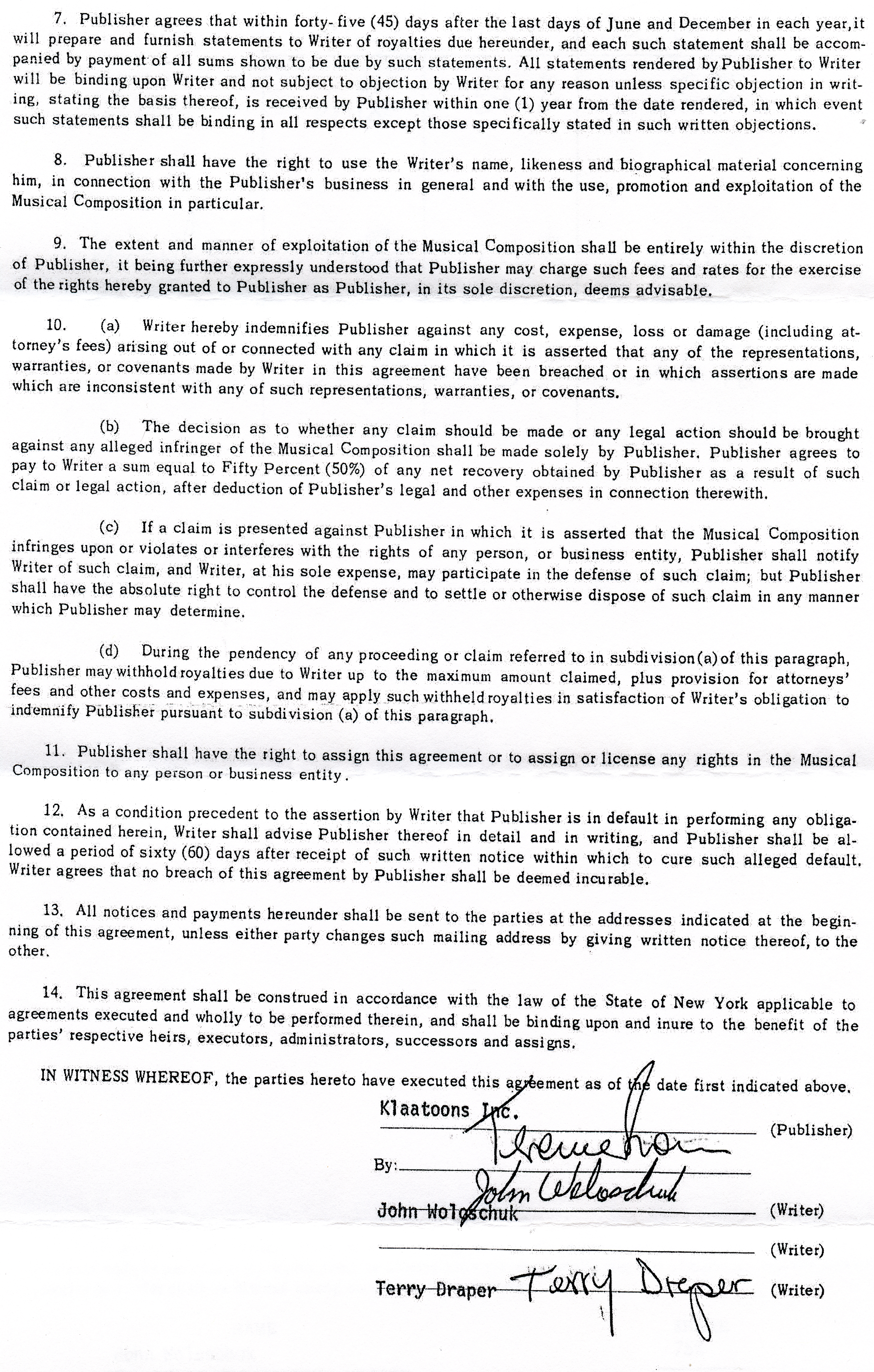 This is a scanned image of the second page of the songwriting contract for Calling Occupants.