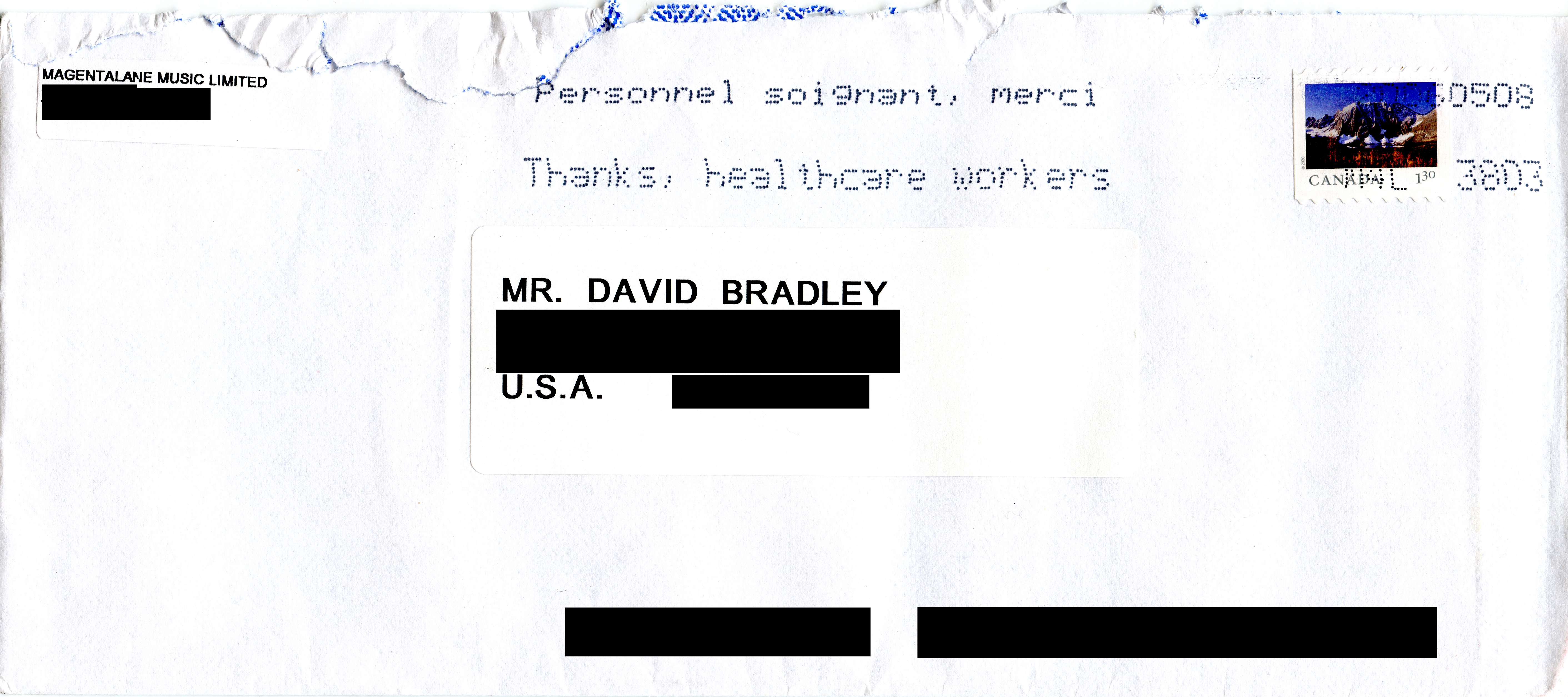 This is a scanned image of the envelope for the letter I received from John Woloschuk.