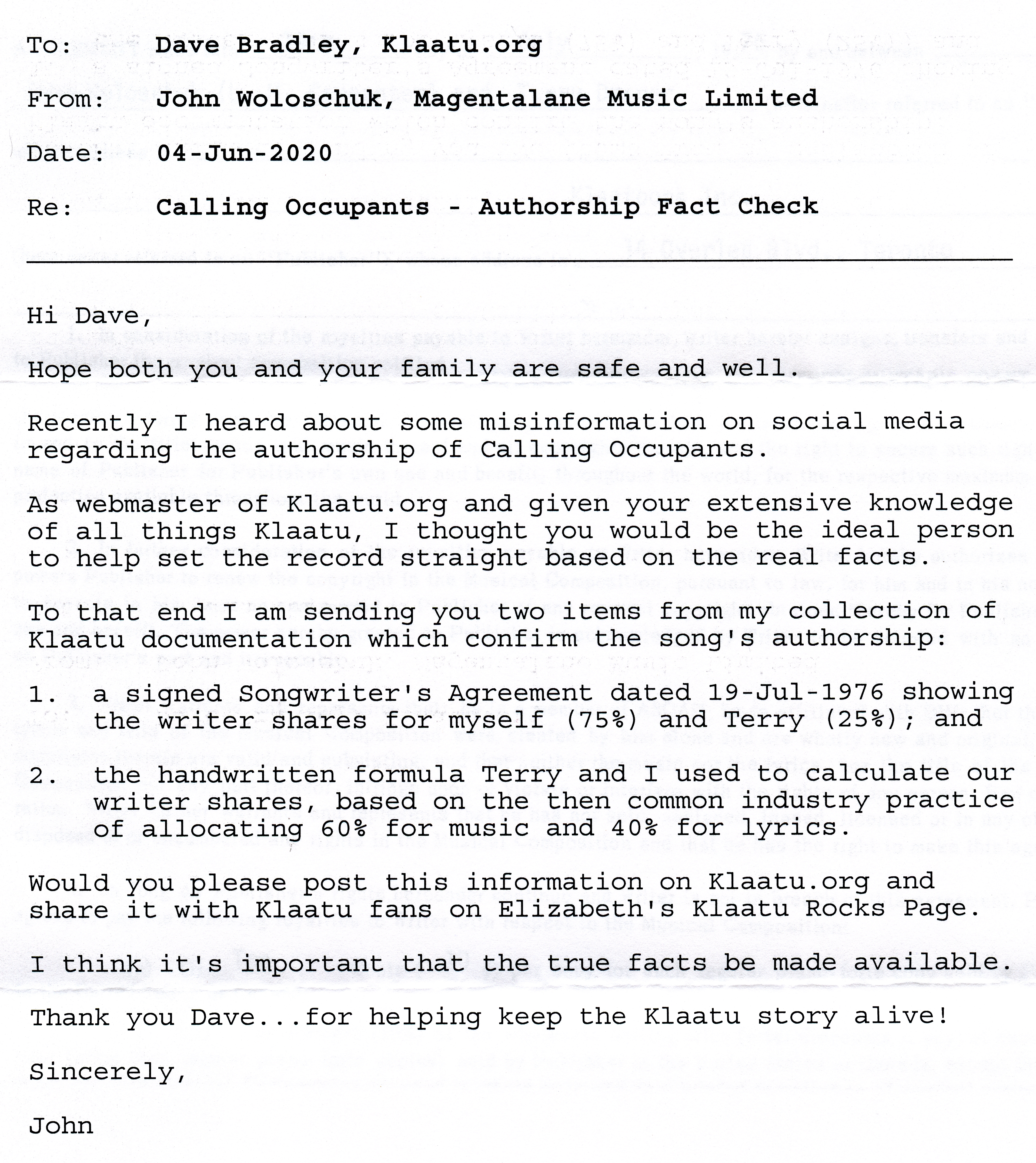 This is a scanned image of the letter I received from John Woloschuk.