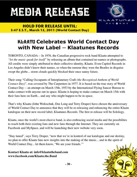 Klaatu announcement about new label and upcoming releases.