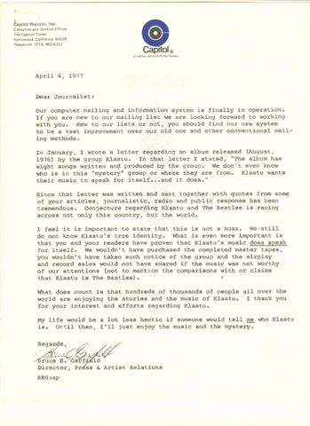 scan of actual 1977 letter from Capitol Records
